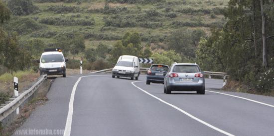 Imagen de la Carretera Nacional 435 a su paso por Zalamea la Real