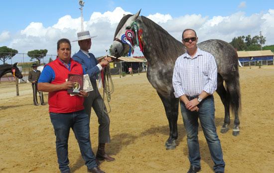 Entrega del premio al campeón de raza y funcionalidad con-el concejal y propietario del animal.