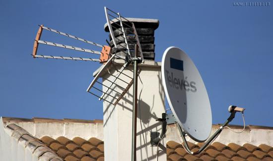 Antenas en una localidad de la provincia de Huelva.