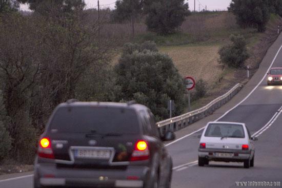Imagen de la carretera N-435 a su paso por Trigueros.