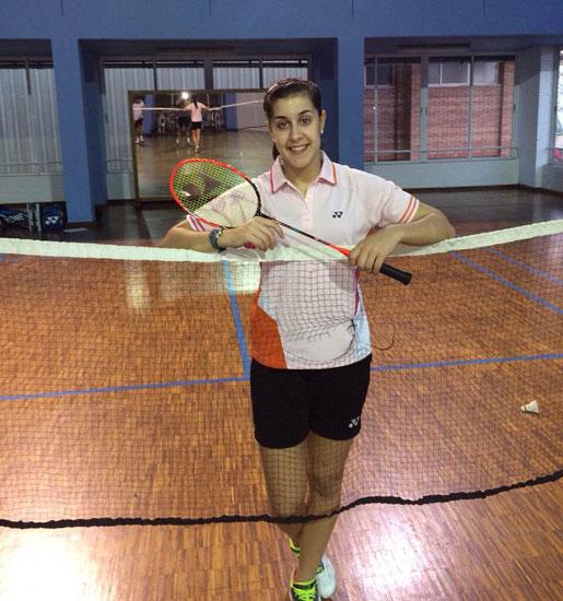 Carolina Marín durante un entrenamiento en Huelva.