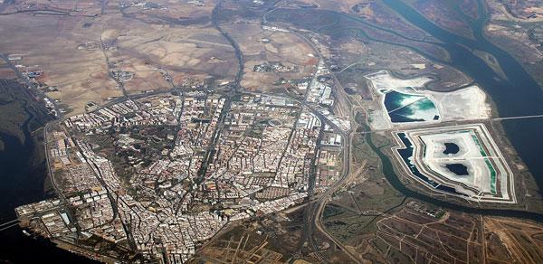 Vista aérea de los fosfoyesos.