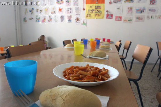 Imagen de un comedor escolar en Minas de Riotinto.