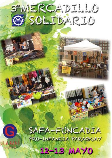 Cartel del III Mercadillo Solidario a favor de la infancia en Paraguay.