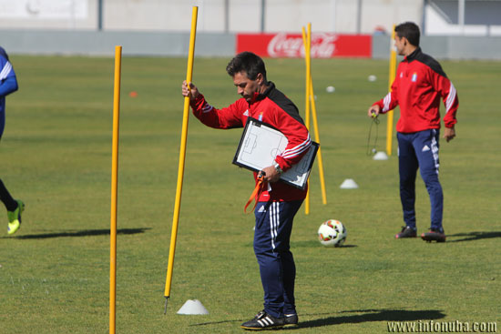 José Dominguez en el entreno del pasado miércoles.
