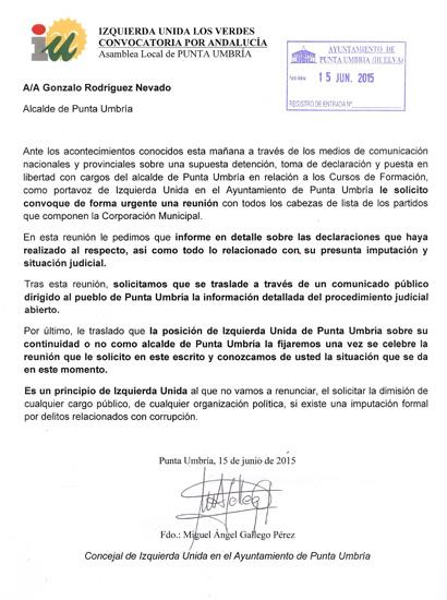 Escrito de IU al alcalde de Punta Umbría.
