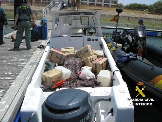 El total de la droga aprehendida arroja un peso de más de 1.500 Kg. de hachís