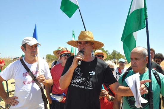 El activista Diego Cañamero realizando declaraciones en pasado martes.