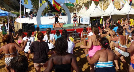 Imagen del aerobic-playa en el evento.