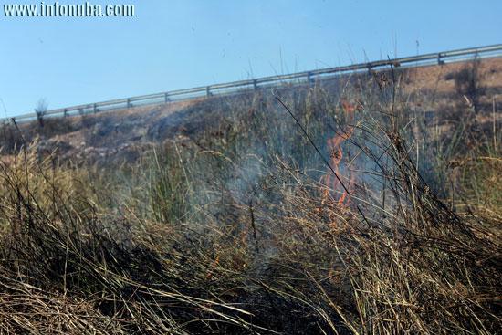 El fuego en la proximidades de la carretera.