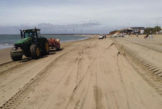 Imagen de los trabajos de Costas en la playa de Isla Canela.