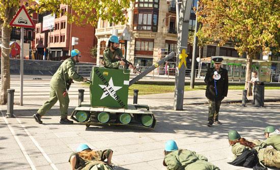 Imagen de acción reivindicativa en Bilbao.