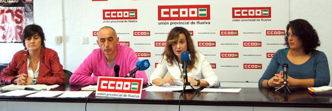 Representantes sindicales de CCOO en una rueda de prensa celebrada en el día de hoy.
