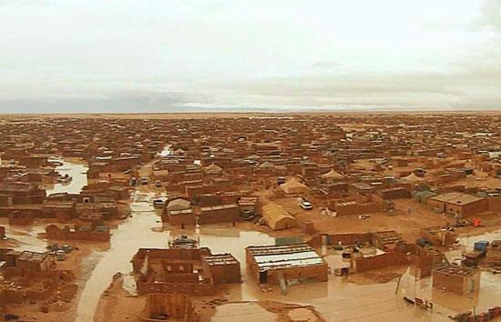 Imagen de un campamento saharaui inundado.