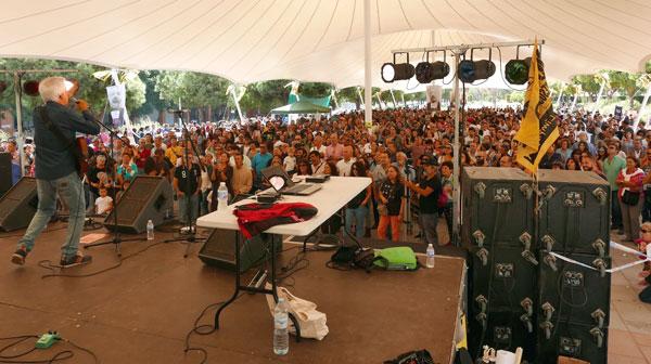 Imagen de la última concentración de la ciudadanía de Huelva en contra de los fosfoyesos.