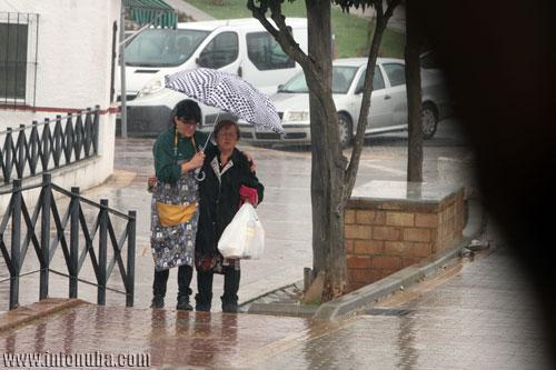 Lluvia en la población de Minas de Riotinto en el día de hoy.