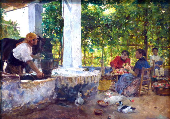 """Imagen de la obra pictórica """"Las floristas"""" de Joaquín Sorolla."""