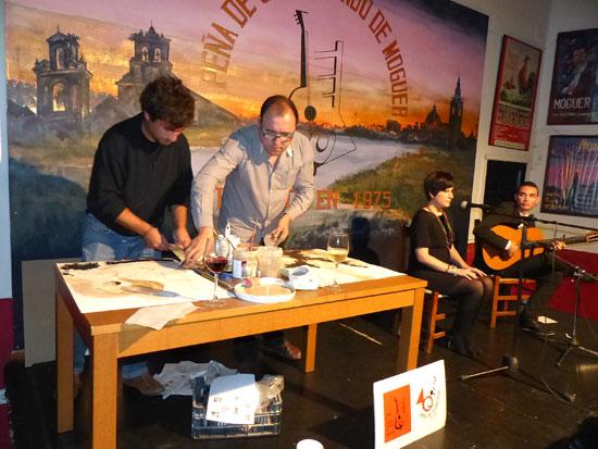 La música y pintura fueron protagonistas en la primera sesión de las Tabernas Flamencas de Moguer.