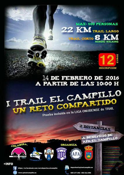 """Cartel de la carrera benéfica """"Trail El Campillo, un reto compartido""""."""