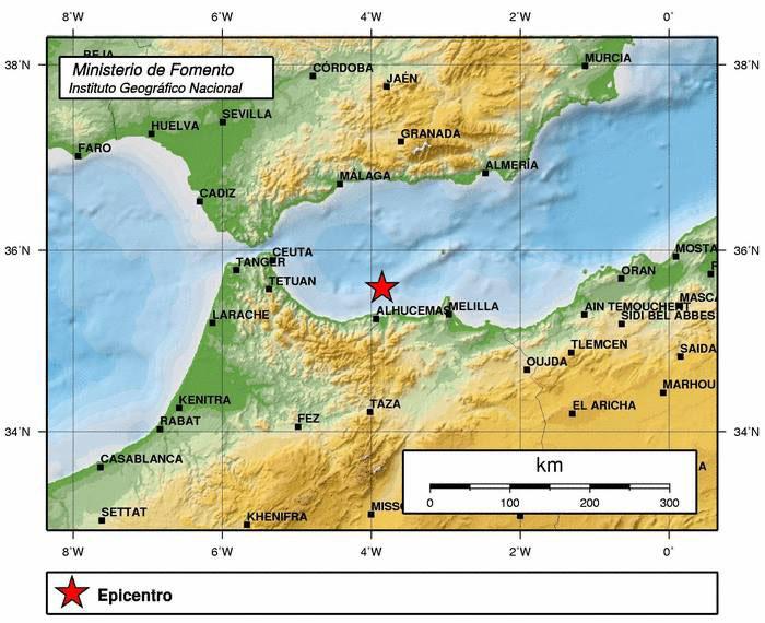 localización del terremoto de Alborán.