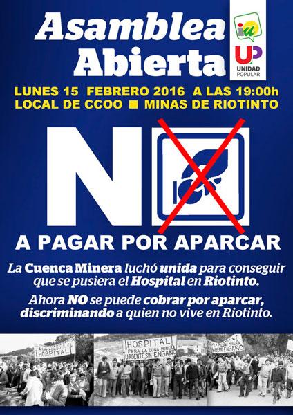 Cartel de la Asamblea Abierta convocada por IU en Minas de Riotinto.