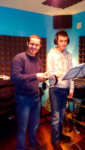 David Núñez y Roberto Álvarez durante la grabación del disco.