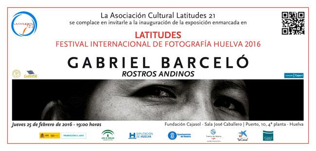 """Cartel de la de la exposición """"Rostros Andinos"""", de autor Gabriel Barceló."""