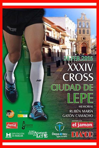 Cartel del la XXXIV edición del Cross Urbano Ciudad de Lepe.
