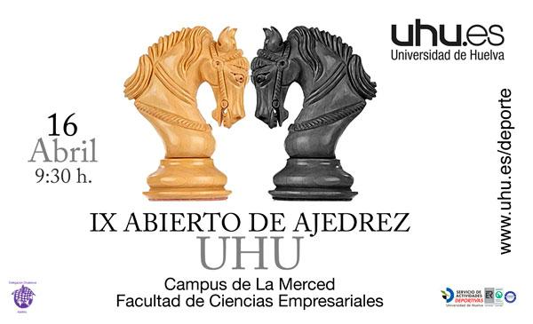 Cartel de la IX edición del Abierto de Ajedrez de la Universidad de Huelva