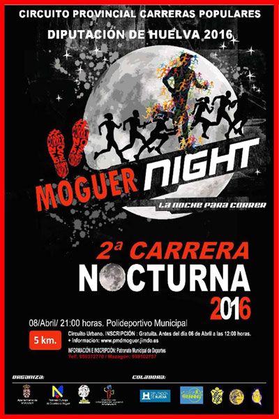 "Cartel de la 2ª  de la Carrera Nocturna ""Moguer Night""."