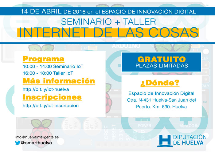 """Cartel del seminario y taller """"Internet de las cosas""""."""