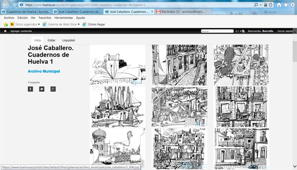 Imágenes de las obras de José caballero en la web del Ayuntamiento de Huelva.