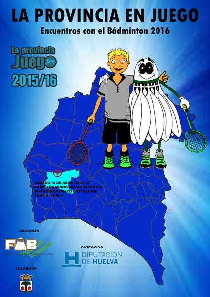 """Cartel de """"Encuentros de Bádminton"""" de La Provincia en Juego."""