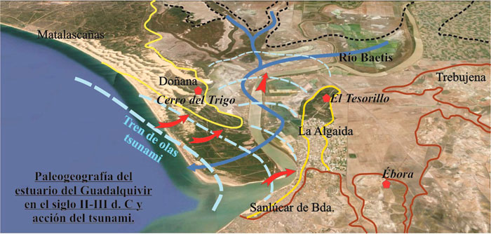 Paleogeografía del estuario del Guadalquivir en el siglo II-III d.C. y acción del tsunami.