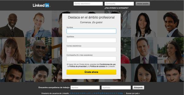 Imagen de portal de entrada de la red social LinkedIn.