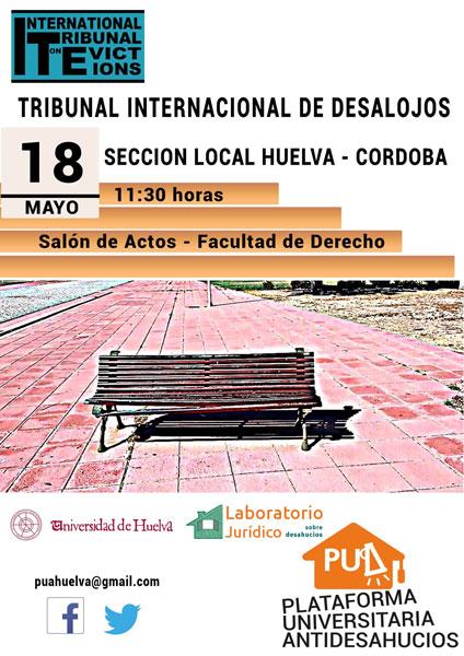 """Cartel de la actividad """"Tribunal Internacional de Desalojos"""", en la UHU."""
