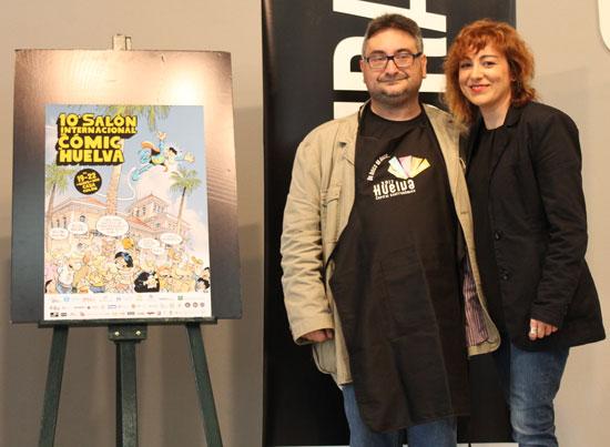 Gerardo Macías junto a Elena Tobar, en el acto de presentación del la X edición del Salón Internacional del Cómic.