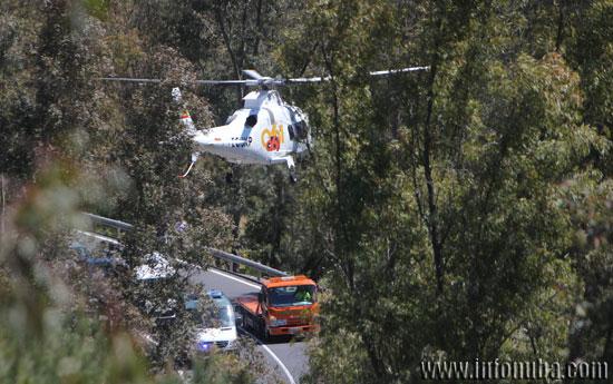 Imagen del dispositivo en el accidente de tráfico ocurrido esta mediodía.