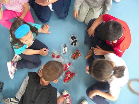Escolares realizando la actividad.