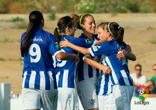 Celebración de uno de los tantos del Sporting Club de Huelva.