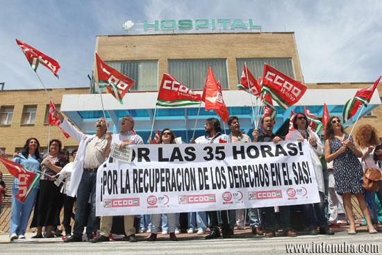 Concentración en el Hospital Comarcal de Minas de Riotinto.