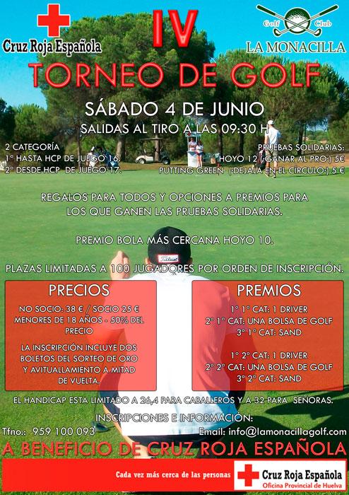 Cartel del Torneo Benéfico de Golf 'Ahora más que nunca', organizado por Cruz Roja Huelva.