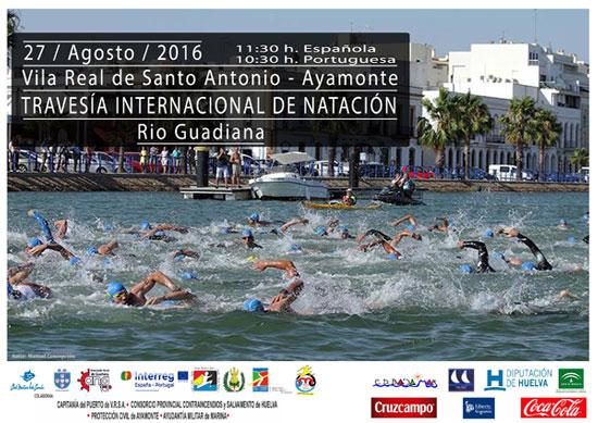 Cartel de la TravesíaInternacional de Natación Río Guadiana.