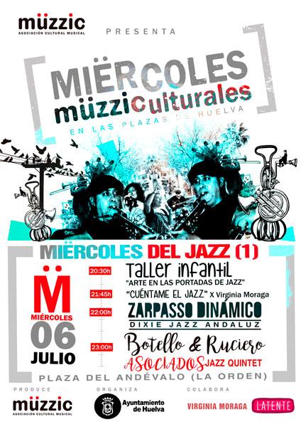 Cartel de la actuación de los Miërcoles Müzziculturales del 6 julio.