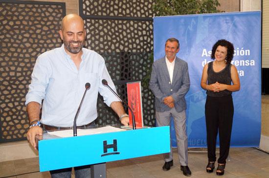 El periodista onubense Javier Ronchel, durante la entraga del Premio Huelva de Periodismo.