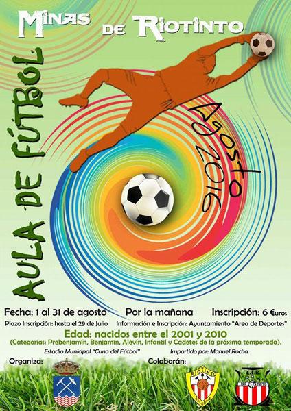 Cartel del Aula de Fútbol de Minas de Riotinto.