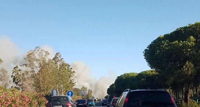 Imagen del incendio forestal declarado esta tarde en el término municipal de Gibraleón.