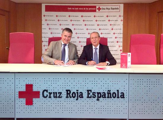 Alfonso Márquez y Juan José Blanco durante la firma del convenio.