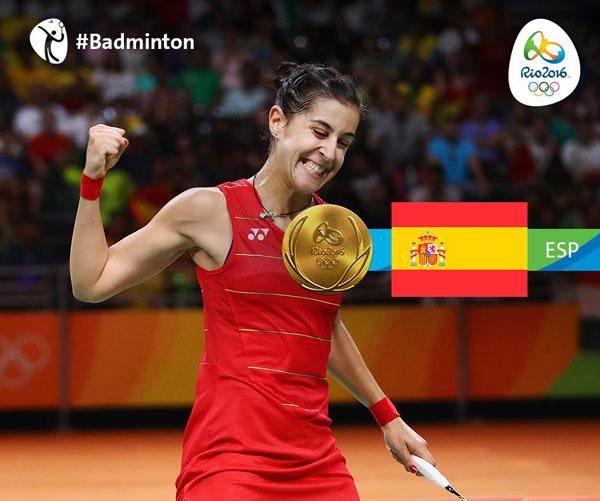 Carolina Marín celebra la consecución de la medalla de oro en los Juegos Olímpicos de Rio2016.