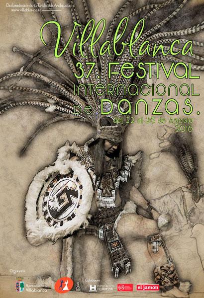 Cartel de la trigésima-septima edición del Festival Internacional de Danzas de Villablanca.